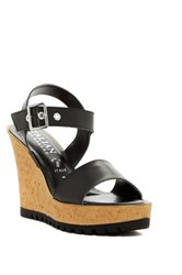 Italian Shoemakers Ankle Strap Wedge Sandal Black