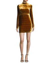 A.L.C. Gemma Long Sleeve Velvet Mini Dress Gold