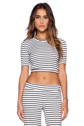 Blue Life 3 4 Sleeve Crop Top White