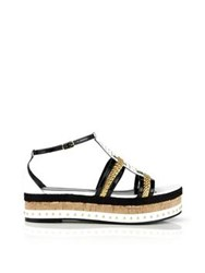 Just Cavalli Patent Leather Rope And Cork Flatform Sandals Black White