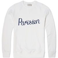 Maison Kitsune Parisien Crew Sweat White And Navy