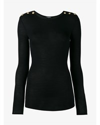 Balmain Long Sleeved Wool And Cashmere Jumper Black