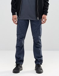 Asos Straight Leg Cargo In Washed Navy Washed Navy
