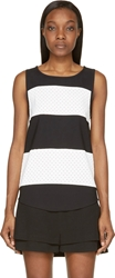 Jay Ahr Black And White Striped Eyelet Tank Top