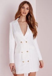 Missguided Long Sleeve Tux Dress White White