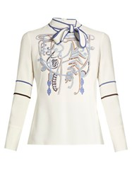 Peter Pilotto Neck Tie Embroidered Cady Top White Multi