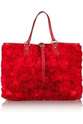 Valentino Rosette Appliqued Silk Tote Red
