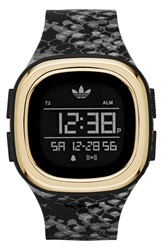 Adidas 'Denver' Digital Silicone Strap Watch 42Mm Black Animal Print Gold