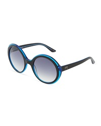 Thierry Mugler Blue And Black Acetate Round Sunglasses