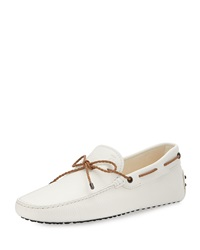 Tod's Leather Braided Tie Driver White