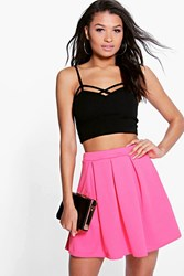 Boohoo Box Pleat Textured Skater Skirt Coral