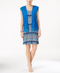 Ny Collection Petite Printed Swing Dress And Lace Trim Cardigan Ocean Epic