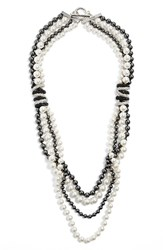 Women's St. John Collection Swarovski Crystal And Glass Pearl Neckline
