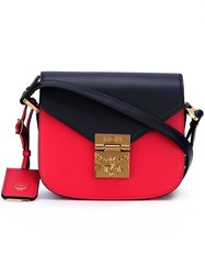 Mcm Colour Block Satchel Bag Red