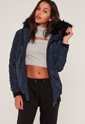Missguided Navy Ruched Parka Coat