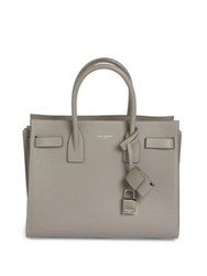 Saint Laurent Baby Sac De Jour Leather Tote Taupe Pearl Grey