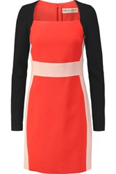 Emilio Pucci Color Block Wool Blend Crepe Mini Dress Red