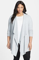 Plus Size Women's Barefoot Dreams Drape Front Cardigan Pewter Pearl Heathered