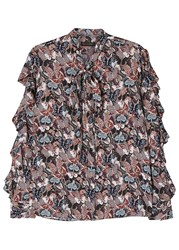 Valentino Butterfly Print Ruffled Silk Crepe Blouse Multicoloured