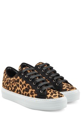 Salvatore Ferragamo Leopard Printed Pony Hair Sneakers Animal Prints