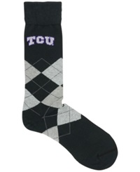 For Bare Feet Texas Christian Horned Frogs Argyle Dress Socks Black Purple