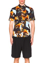 Givenchy Cockfight Print Short Sleeve Shirt In Black Blue Abstract