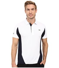 Lacoste T1 Short Sleeve Ultra Dry Color Block White Navy Blue Men's Clothing