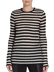 Rachel Zoe Striped French Terry Pullover Black White