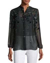 Elie Tahari Amina Long Sleeve Floral Blouse Dark Green Multi