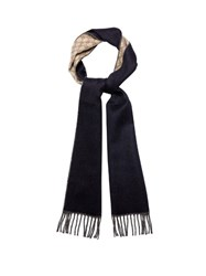 Gucci Double Faced Gg Wool Scarf Navy Multi
