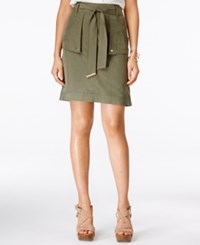Inc International Concepts Petite Belted Cargo Skirt Only At Macy's Olive Drab
