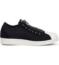 Adidas Y3 Super Zip Neoprene And Suede Low Top Trainers Black Ecru