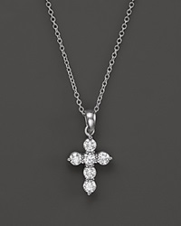 Bloomingdale's Diamond Cross Pendant Necklace In 14K White Gold .60 Ct. T.W.