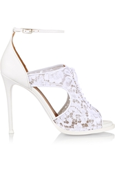 Givenchy Platform Sandals In White Leather And Lace