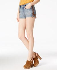 American Rag Lace Up Light Wash Denim Shorts Only At Macy's Wallace Wash