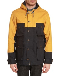 Knowledge Cotton Apparel Two Tone Yellow And Navy Blue Parka With Hood