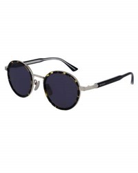 Gucci Round Engraved Titanium And Acetate Sunglasses Tortoiseshell Silvertone Gold