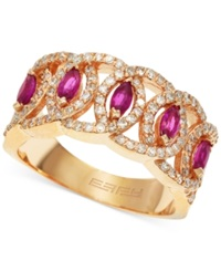 Effy Collection Effy Ruby 5 8 Ct. T.W. And Diamond 1 2 Ct. T.W. Band Ring In 14K Rose Gold