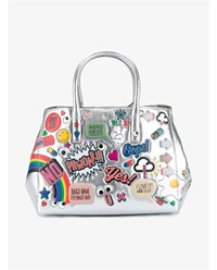 Anya Hindmarch All Over Stickers Small Featherweight Ebury Tote Metallic Silver Multi Coloured