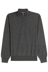 Brioni Wool Turtleneck Pullover With Zipper Grey