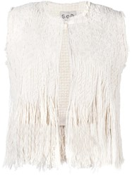 Sea Fringed Knit Vest Nude Neutrals