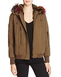 Jocelyn J. Military Patched Fur Lined Bomber Jacket 100 Bloomingdale's Exclusive Multi