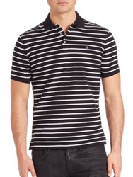 Polo Ralph Lauren Striped Stretch Mesh Polo Shirt Black White