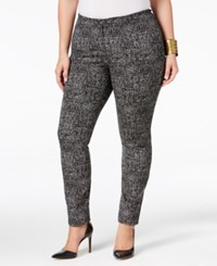 Alfani Plus Size Comfort Waist Tweed Print Skinny Pants Only At Macy's Jigsaw Tweed