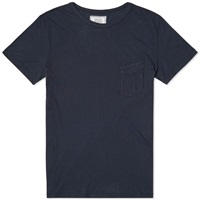 Officine Generale Garment Dyed Pocket Tee Navy