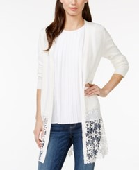 Ny Collection Crochet Lace Trim Open Cardigan