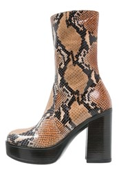 Jeannot High Heeled Boots Blu Testa Di Moro Mottled Dark Brown