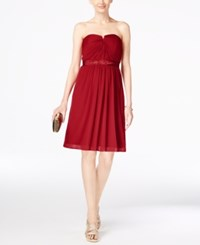 Adrianna Papell Strapless Ruched Dress Cherry