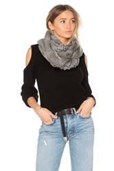 525 America Infinity Rabbit Fur Scarf Gray