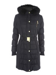 Jane Norman Longline Belted Padded Coat Black